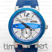 Ulysse Nardin GMT Dual Time Silver-Blue-Write