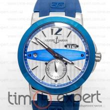 Ulysse Nardin GMT Dual Time Silver-Blue-Write