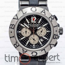 Bvlgari Diagono Chronograph Silver-Write-Black