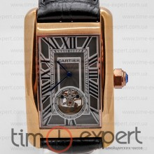 Cartier Tank Turbillon Gold-Gray-Write