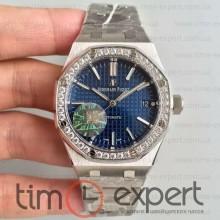 Audemars Piguet (37mm) Bracelet Royal Oak Steel-Blue Diamond 3120