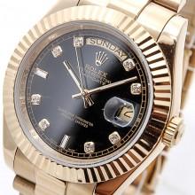 Rolex Day-Date 41 Yellow-Gold-Black-Diamond