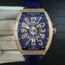 Franck Muller Vanguard Full Diamonds Gold-Blue