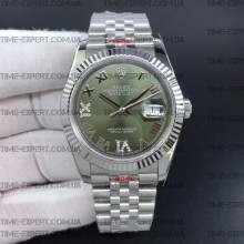 Rolex DateJust 36 126234 Steel Green Dial Diamonds Roman Markers