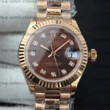 Rolex DateJust 28mm Diamond Bezel Brown Dial