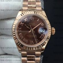 Rolex DateJust 28mm Brown Dial Roman Markers