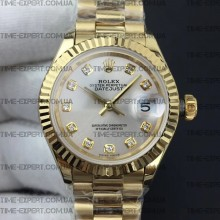 Rolex DateJust 28mm White Silver Dial on ETA2671