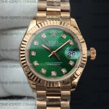 Rolex DateJust 28mm Diamond Green Dial