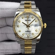 Rolex DateJust 36 116234 Bicolor Silver Jubilee Dial On Oyster Bracelet 3135