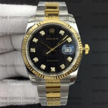 Rolex DateJust 36 116234 Bicolor Black Jubilee Dial On Oyster Bracelet 3135