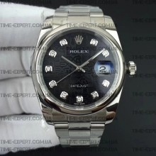 Rolex DateJust 36 116234 Smooth Bezel  Diamond Black Jubilee Dial Oyster Bracelet 3135