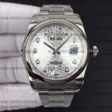 Rolex DateJust 36 116234 Smooth Bezel Diamond Silver Jubilee Dial Oyster Bracelet 3135