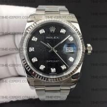 Rolex DateJust 36 116234 Diamond Black Jubilee Dial Oyster Bracelet 3135