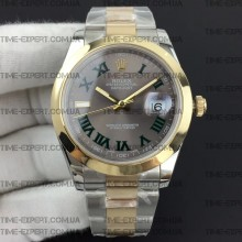 Rolex DateJust II 41mm Roman Green Gray Dial Oyster Bracelet 3235