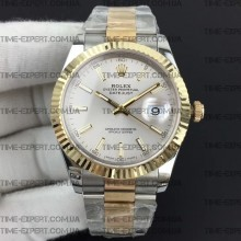 Rolex DateJust II 41mm Silver Sticks Dial Bicolor Oyster Bracelet 3235