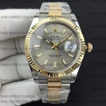 Rolex DateJust II 41mm Gray Sticks Dial Bicolor Oyster Bracelet 3235