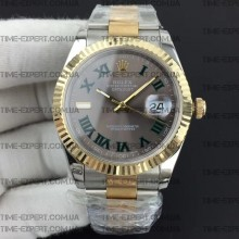 Rolex DateJust II 41mm Roman Green Gray Dial Bicolor Oyster Bracelet 3235