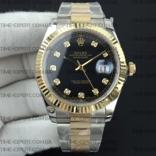 Rolex DateJust II 41mm Black Diamond Dial Bicolor Oyster Bracelet 3235