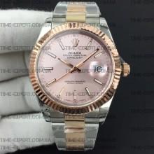 Rolex DateJust II 41mm Pink Sticks Dial Rose Gold Oyster Bracelet 3235