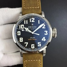 Zenith Pilot Type 20 Extra Special 45mm Black Dial on Brown Asso Strap