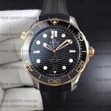 Omega Seamaster Diver 42mm Black Ceramic Bicolor on Black Rubber Strap