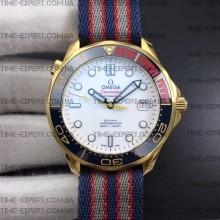 Omega Seamaster Diver 41mm Commander's Watch Nylon Strap 18K