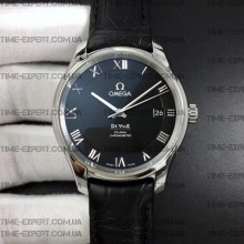 Omega De Ville 41mm Hour Vision Black Dial on Black Strap