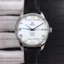 Omega De Ville 41mm Hour Vision White Dial on Black Strap