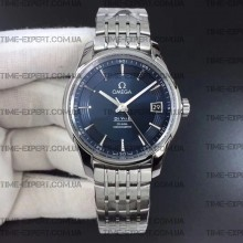 Omega De Ville 41mm Hour Vision Blue Dial on Bracelet Stick Markers