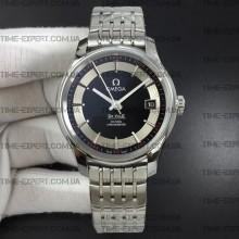 Omega De Ville 41mm Hour Vision Black/Silver Dial on Bracelet Stick Markers