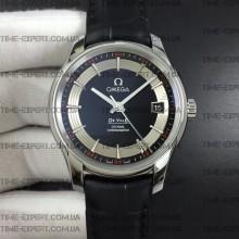 Omega De Ville 41mm Hour Vision Black/Silver Dial on Black Strap Stick Markers
