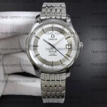 Omega De Ville 41mm Hour Vision White Dial on Bracelet Stick Markers