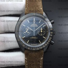 "Omega Speedmaster ""Dark Side of The Moon"" Vintage Black on Brown Leather Strap"