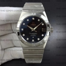Omega Constellation 38mm Black Dial Diamonds Markers on Bracelet 8500
