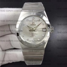 Omega Constellation 38mm Silver Dial Diamonds Markers on Bracelet 8500