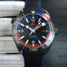 "Omega Planet Ocean 45.5mm GMT ""Deep Black"" Real Ceramic on Black Nylon Strap 8900"
