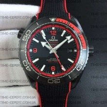 "Omega Planet Ocean 45.5mm GMT Red ""Deep Black"" Real Ceramic on Black Nylon Strap 8900"