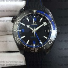 "Omega Planet Ocean 45.5mm GMT Blue ""Deep Black"" Real Ceramic on Black Nylon Strap 8900"