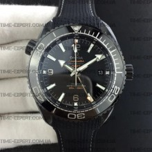 "Omega Planet Ocean 45.5mm GMT Black ""Deep Black"" Real Ceramic on Black Nylon Strap 8900"