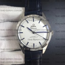 Omega Globemaster Master Chronometer White Dial on Blue Leather Strap