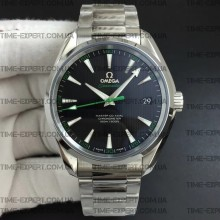 Omega Aqua Terra 150M 41mm Black Textured Dial Green on Bracelet 8500