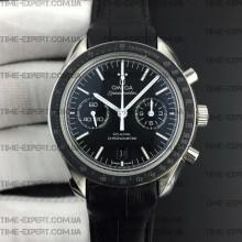 Omega Speedmaster 41.5mm Moonwatch Co-Axial Black Dial White Logo on Black Leather Strap