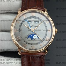 Blancpain Villeret Quantième Complet 40mm Gray Dial on Brown Leather Strap