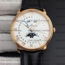 Blancpain Villeret Quantième Complet 40mm White Dial on Black Leather Strap