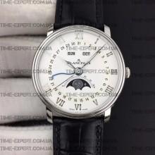 Blancpain Villeret Quantième Complet 40mm White Dial on Black Leather Strap
