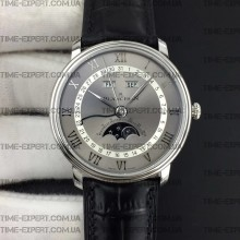 Blancpain Villeret Quantième Complet 40mm Gray/White Dial on Black Leather Strap