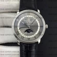Blancpain Villeret Quantième Complet 40mm Gray/White Dial on Black Leather Strap
