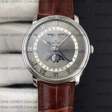 Blancpain Villeret Quantième Complet 40mm Gray/White Dial on Brown Leather Strap
