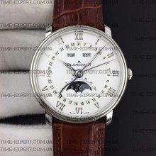 Blancpain Villeret Quantième Complet 40mm White Dial on Brown Leather Strap