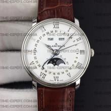 Blancpain Villeret Quantième Complet 40mm White Dial on Brown Leather Strap
